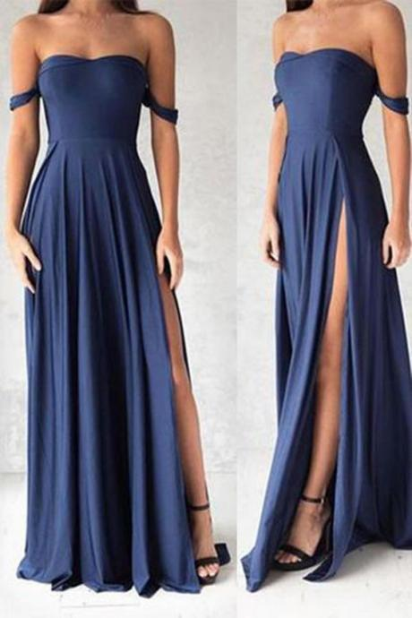 Charming Prom Dress,Sexy Side Split Prom Dresses, Off Shoulder Prom Dress