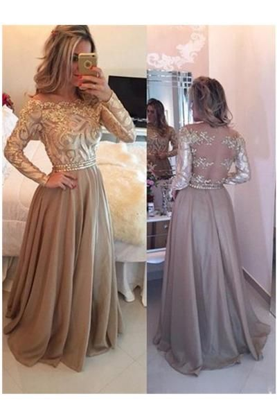 A-Line Cowl Gold Long Prom Dresses,Long Sleeves Evening Dress