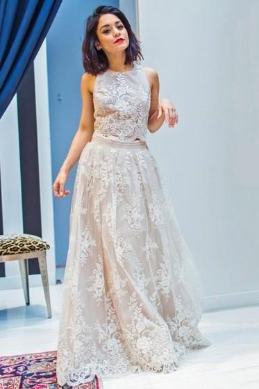 Two Piece A-line Prom Dress,Scoop Neck Ivory Formal Dresses,Tulle with Appliques Lace Prom Dress, Floor-length Graceful Prom Dresses