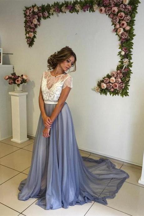 Lace Sweep Train Prom Dress,A-line Chiffon Evening Dress,Custom Made Sexy Backless Prom Dress