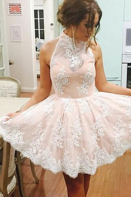 Homecoming Dress Illusion Neck Short Champagne Party Dress with Lace Appliques
