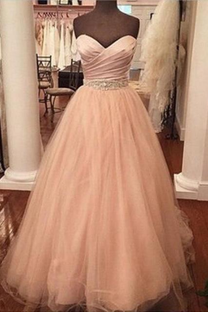 A-line Sweetheart Neckline Long Prom Dress with Pleated Chest