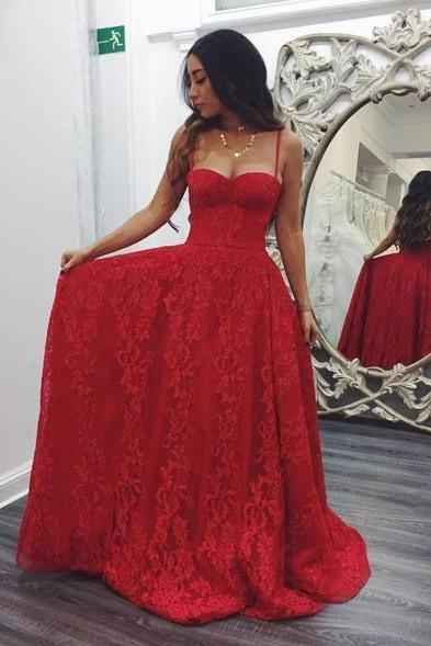 Spaghetti Straps Red Prom Dresses,Lace Evening Dress