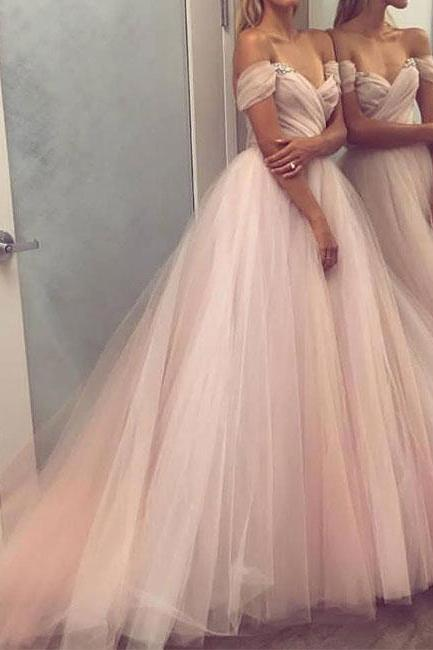 SIMPLE SWEETHEART TULLE CHAMPAGNE LONG PROM DRESS, EVENING DRESS