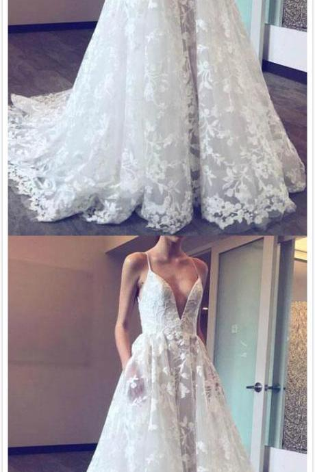 Spaghetti Straps Wedding Dress,Deep V Wedding Dresses,Mermaid Bridal Dress,White Wedding Dresses,Lace Wedding Gown,Long Wedding Dress