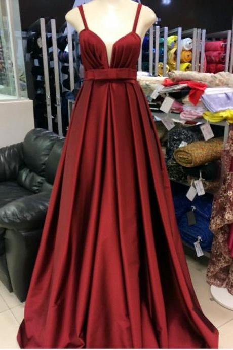long satin prom dress,burgundy formal dress,long evening gowns,empire waist prom dress