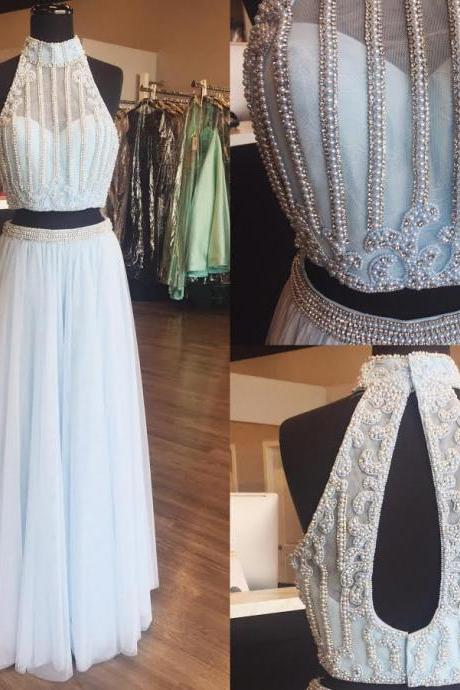 Two Piece Halter Prom Dress,Beaded Celebrity Prom Dresses, Wedding Party Dresses Formal Gowns