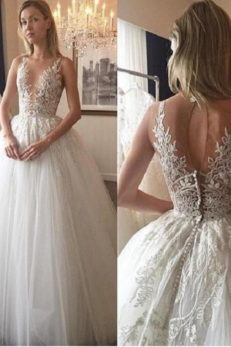 See-through Bodice Lace Wedding Dress,Appliqued Ivory Bridal Dresses, Tulle Bridal Wedding Dresses