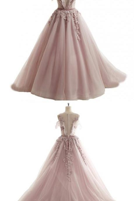 spring pink tulle long prom dress,off shoulder A-line prom dresses,senior beaded prom dress with lace appliqués