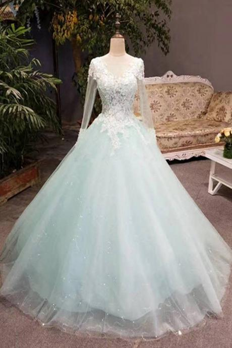 Unique mint tulle long lace top winter wedding dress with sleeves