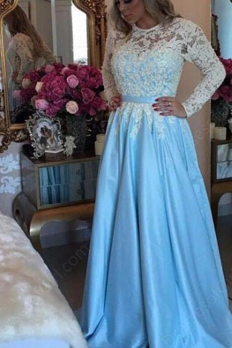 Blue Satin Prom Dress,Lace Long Sleeves Party Gowns, Blue Prom Gowns, Party Gowns