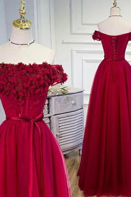 Off Shoulder Wine Red Prom Dress, Floral Tulle Gowns, Formal Dresses with Lace-up, Prom Dresses