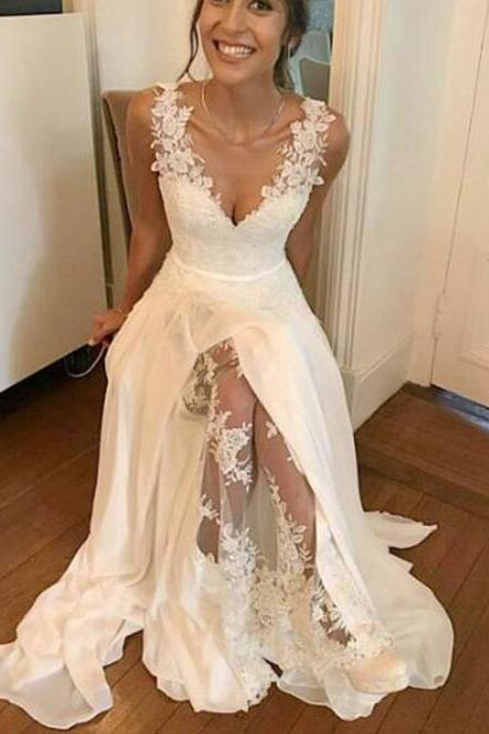 White Chiffon Prom Dress,Lace Straps Long Party Dresses, Cute Floor Length Party Gowns, Formal Dresses