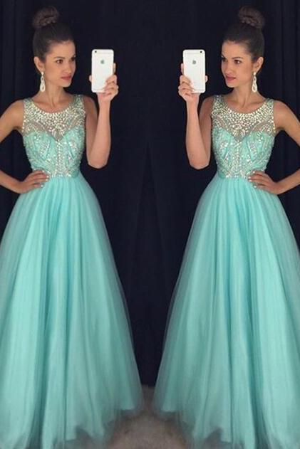 Bule Long Prom Dress,Tulle Prom Dresses,Custom Prom Dresses, Sexy Prom Dress, Mermaid Prom Dress, Elegant Prom Dress