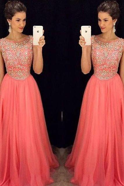 Beading Prom Gown,Prom Gowns,Elegant Evening Dress,Beaded Evening Gowns,Sexy Party Gowns,Coral Prom Dress,Evening Gowns