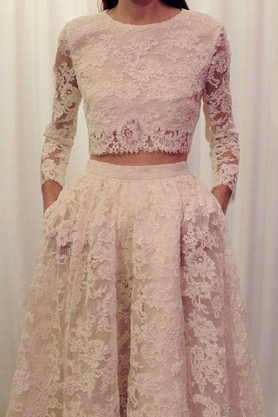 Two Pieces Lace Wedding Dresses ,long Wedding dress,lace Bridal dresses