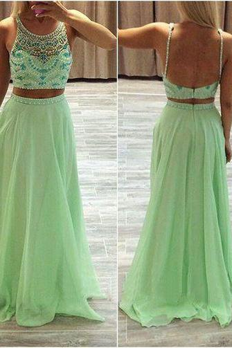 High Quality Two Pieces Prom Dress , Two-Piece Prom Dress,2 Piece Prom Dress,Round Neck Prom Dress,Beautiful Beading Prom Dress,Evening Dress,Elegant Women Dress,Party Dress