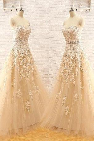 New Arrival A Line Custom Made Wedding Dress,Sweetheart Strapless Elegant Tulle Lace Wedding Dresses,Light Champagne Wedding Dress,Wedding Gown Bridal Dress,Wedding Dresses,Charming A-Line Bridal Dresses Ball Gown