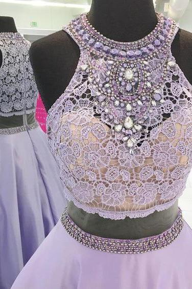 Lavender Prom Dress,Beaded Prom Gown,Lavender Lace Graduation Dress