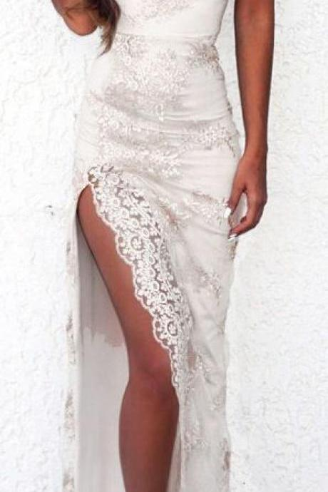 Lace Prom Dresses,Split Formal Dress,Fashion Prom Dress,Sexy Party Dress,Custom Made Evening Dress