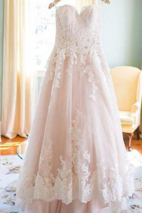 Sweetheart Wedding Dress,Blush Pink Wedding Gown,Princess Wedding Dresses,Tulle Wedding Dress with Lace,Lace Appliqued Brides Dress