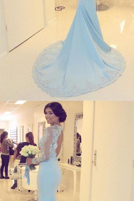 Elegant Lace Long Sleeves Prom Dress, Open Back Mermaid Evening Dresses,Formal Prom Gowns