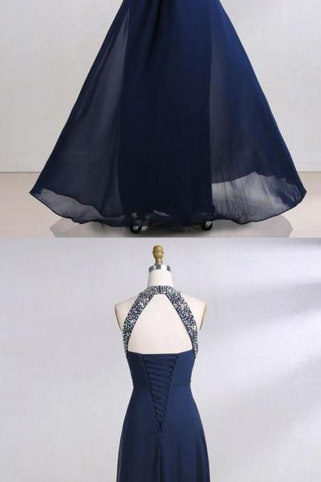 open back prom dresses, navy blue prom dress, keyhole prom dresses, round neck prom dresses, beading prom dresses