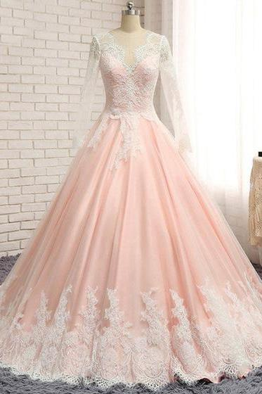 Blush pink chiffon long wedding dress,lace A-line wedding dresses,senior prom dress with sleeves
