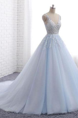 Blue tulle long V neck wedding dress,customize halter evening dress, senior prom dress