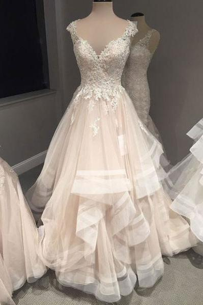 Champagne tulle long cap sleeves wedding dress, formal bridal dresses