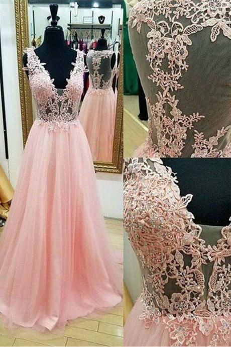 Pink Tulle Prom Dresses,A-line Prom Gown,Floor-length Prom Dresses,Appliques Prom Dress,Long Prom Dress,Formal Evening Dress