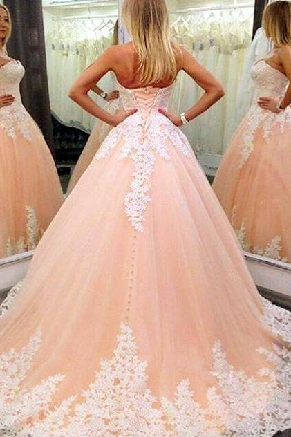 Strapless Nude Ball Gown Wedding Dresses , Lace Bridal Dress, Cheap Wedding Dress,Mermaid Prom Dress
