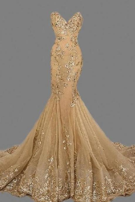 Sexy Gold Sweetheat Prom Dresses,Fashion Cheap Long Prom Dress,Sexy Handmade Gold Formal Women Evening Dress,Formal Dress Gold,Gold Prom Dress/Women Dress