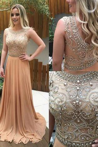 Champagne A-line Prom Dress,beading long prom dresses,evening dresses