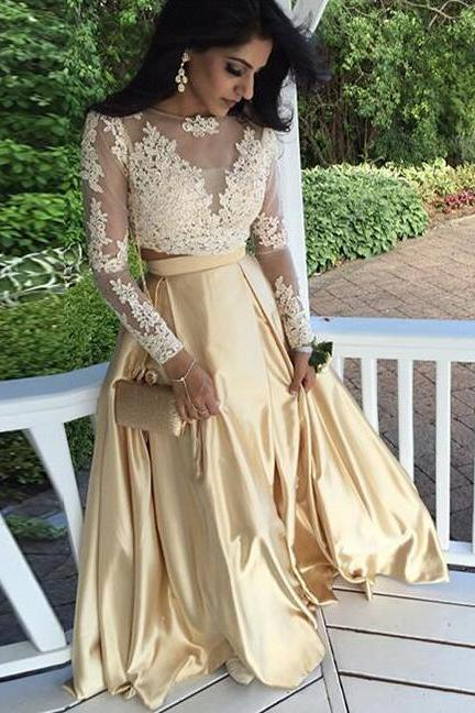 Two Pieces Prom Dress,lace Evening Dress,Full Sleeves Prom Dresses,Long Sleeves Prom Dress,Cheap Prom Dress