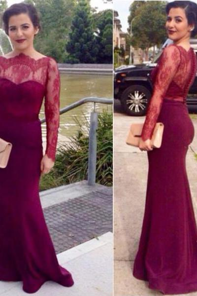 long prom dress, burgundy prom dresses, lace prom dress, sheath prom dress, long sleeves prom dress, long evening dress, party prom dress