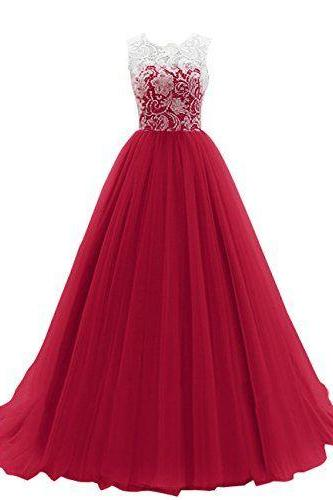Prom Dress,Maroon Long Prom Dress,prom dresses,lace evening gowns,white lace prom gowns,evening dress,Tulle party gowns,burgundy prom gowns