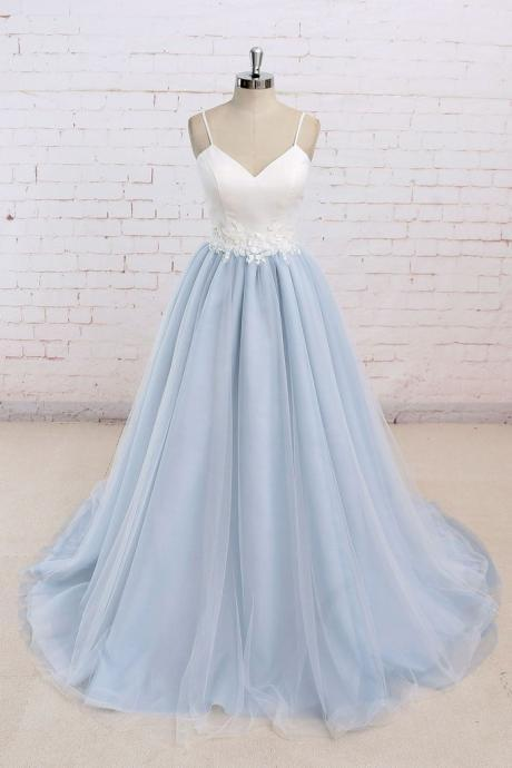 Baby Blue Sweet A line Spaghetti strap Long Simple Flower Lace Prom Dress