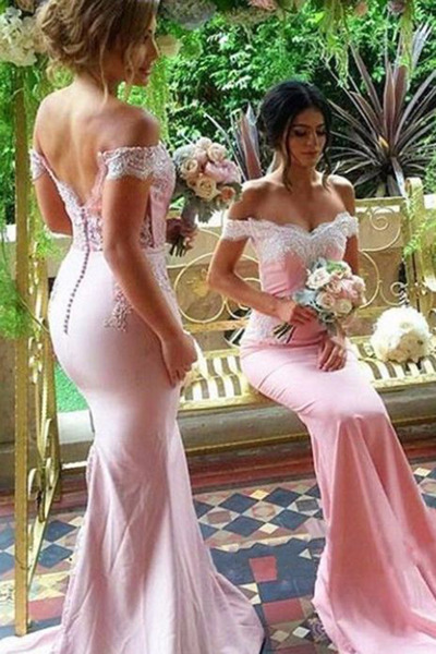 Pink lace off-shoulder bridesmaid dresses,slim-line full-length bridesmaid dress,mermaid long prom dress ,bridesmaid dress