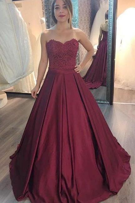 Burgundy lace long prom gown, burgundy evening dress,Long Evening Dress, Sexy Back Prom Dresses