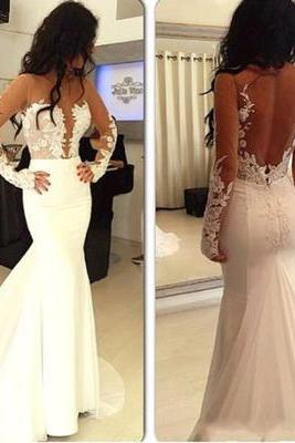 Hot selling prom dresses, sexy prom dress, white prom dress, long sleeve prom dress, open back prom dress, long prom dress, cheap wedding dress, Evening Gowns