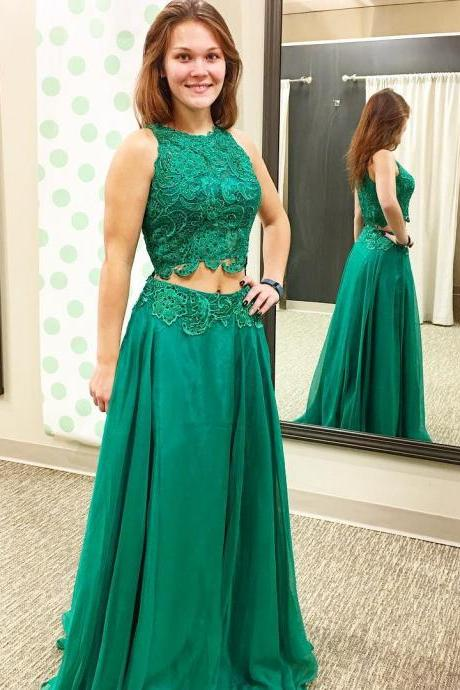 green prom dress,two piece prom dresses,2 piece prom gowns,prom dresses, lace evening dress,Evening dress