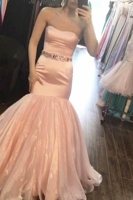 blush pink satin mermaid prom dresses ,with crystal beaded sashes prom dress,Mermaid Long Prom Dress,Graduation Dress