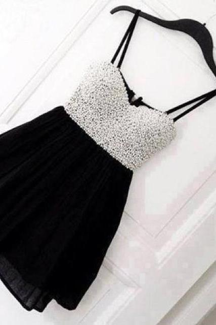 Custom Made Cute Black Mini Homecoming Dress with White Beadings, Homecoming Dress, Homecoming Dresses, Short Prom Dress