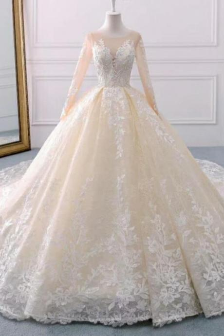 Lace Wedding Dresses,A Line Bridal Dresses,Scoop Wedding Dress,Long Sleeves Wedding Dresses,New Wedding Dresses