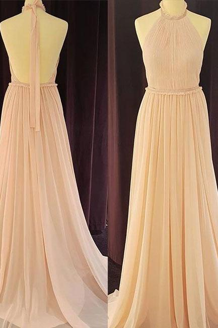 Cheap A-Line Halter Backless Prom Dresses,Light Pink Chiffon Long Prom Dress with Pleats ,Long Evening Dress , Party Dresses, Long Prom Dress,Graduation Dress