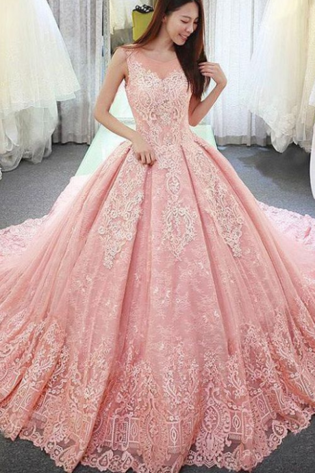 Fantastic Pink Tulle Lace Wedding Dresses,Jewel Neckline Ball Gown Wedding Dress With Lace Appliques, Long Sweep Train Bridal Dresses,Sexy Wedding Gown ,High Quality Bridal Gown,Sexy Formal Evening Dress,Custom Made Long Wedding Dress , Pink Lace Bridal Dresses, Long Prom Dress,Graduation Dress