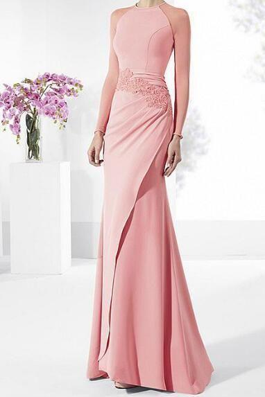Long Sleeves Sheath Evening Dresses ,Sexy High Slit Prom Party Gowns, Long Prom Dresses , Custom Made ,New Fashion