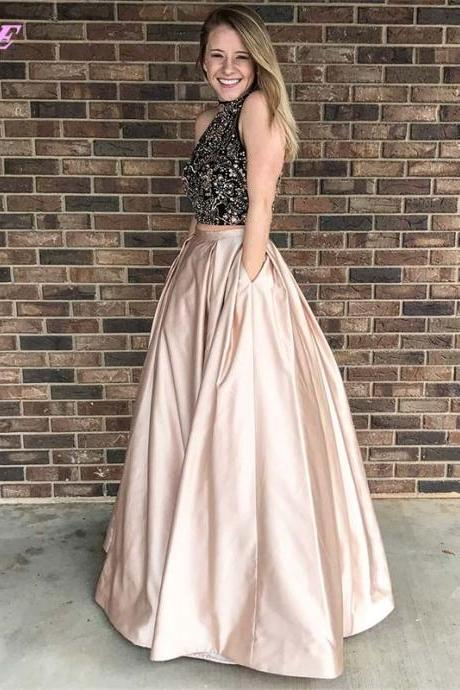 Sexy Two Piece Prom Dresses Long Evening Gown High Neck Crystals Beaded Satin