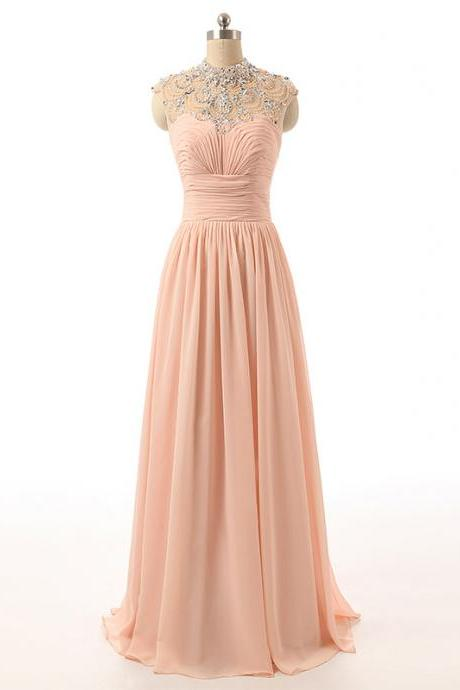 Crystal Embellished Peach Evening Dresses,Chiffon High Neck Sleeveless Floor Length Formal Dress, Prom Dress ,Long Evening Dress , Party Dresses, Long Prom Dress,Graduation Dress